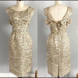 Stunning 60's Silver Gold Lame Cocktail Dress